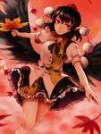 1girl autumn_leaves black_hair black_neckwear black_wings bloomers collared_shirt cowboy_shot frilled_skirt frills hat hauchiwa highres kuya_(hey36253625) leaf looking_at_viewer pointy_ears pom_pom_(clothes) puffy_short_sleeves puffy_sleeves red_eyes red_hat shameimaru_aya shirt short_sleeves skirt smile socks solo tokin_hat touhou underwear white_legwear wings