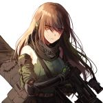 1girl arm_strap armor armpits assault_rifle asymmetrical_legwear bandanna bangs brown_eyes brown_hair case closed_mouth clothes_around_waist collarbone detached_sleeves digi-mind_update_(girls_frontline) elbow_pads eyebrows_visible_through_hair eyes_visible_through_hair floating_hair gauntlets girls_frontline gloves gun hair_between_eyes hand_in_hair headset holding holding_gun holding_weapon jacket_around_waist long_hair m4_carbine m4a1_(girls_frontline) magazine_(weapon) multicolored_hair pouch ribbed_legwear ribbed_sweater rifle scope sidelocks silence_girl simple_background skindentation solo strap streaked_hair sweater sweater_vest thigh_strap thighs torn_clothes weapon weapon_case white_background wind wind_lift