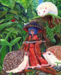 1girl bangs blue_eyes blue_hair blue_sky blunt_bangs bowl bowl_hat bug day full_body grass harikona hat hedgehog holding_needle insect japanese_clothes kimono ladybug leaf looking_down minigirl needle obi oil_painting_(medium) outdoors pebble sash short_hair sky smile solo standing sukuna_shinmyoumaru touhou traditional_media water_drop