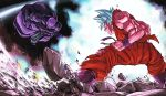 2boys aura blue_eyes blue_hair blurry boots clenched_hands commentary_request dirty dougi dragon_ball dragon_ball_super dragonball_z fighting_stance flying hit_(dragon_ball) image_sample looking_at_another male_focus multiple_boys open_mouth profile rock serious short_hair sleeveless smile son_gokuu spiky_hair standing super_saiyan_blue twitter_sample wristband