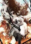 1boy bandolier davis_okoye explosion george_(rampage) gorilla gun highres kaijuu male_focus miwa_shirou rampage_(film) running weapon