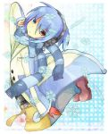 1boy blue_background blue_eyes blue_hair blue_scarf looking_at_viewer multicolored_coat polka_dot polka_dot_background puyopuyo red_eyes red_footwear rento_(rukeai) scarf shoes sig_(puyopuyo) snowflakes solo