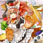 1girl animal_ears apron bell bell_collar blush_stickers breasts carrot cat_hair_ornament cat_paws collar dango doughnut egg eggplant fangs fate/grand_order fate_(series) food fox_ears fox_tail gloves hair_ornament hair_ribbon indoors jingle_bell kitchen large_breasts long_hair maid_headdress milk omelet paw_gloves paws pink_hair ponytail red_ribbon ribbon rice solo tail tamamo_(fate)_(all) tamamo_cat_(fate) tomato wagashi yellow_eyes yubacha