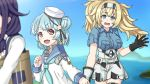 3girls blonde_hair blue_eyes blue_hair blue_sailor_collar blue_shirt breast_pocket buttons collared_shirt dixie_cup_hat double_bun gambier_bay_(kantai_collection) gloves hair_between_eyes hair_flaps hairband hand_grab hat kantai_collection karuna_(madlax) long_sleeves military_hat multicolored multicolored_clothes multicolored_gloves multiple_girls neckerchief open_mouth pocket ryuuhou_(kantai_collection) sailor_collar samuel_b._roberts_(kantai_collection) school_uniform serafuku shirt short_hair short_sleeves shorts smile taigei_(kantai_collection) twintails white_hat white_shirt