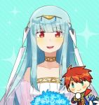 1boy 1girl bare_shoulders blue_eyes blue_hair cape dress eliwood_(fire_emblem) fire_emblem fire_emblem:_rekka_no_ken fire_emblem_heroes hair_ornament long_hair looking_at_viewer mamkute ninian red_eyes redhead short_hair smile