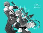 1boy 1girl armor cape eyepatch fingerless_gloves glasses gloves hat jacket monochrome robaco saika_(xenoblade) short_hair sieg_b_goku_genbu silver_hair smile sword weapon xenoblade_(series) xenoblade_2