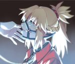 1girl bangs blonde_hair braid bridle brown_background collar collared_jacket eyebrows_visible_through_hair fate/apocrypha fate_(series) green_eyes jacket leash long_hair looking_away mordred_(fate) mordred_(fate)_(all) o-ring open_clothes open_jacket parted_lips ponytail portrait profile red_jacket solo_focus yorukun