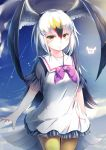 1girl absurdres black-tailed_gull_(kemono_friends) blue_sky clouds commentary_request cowboy_shot dress eyebrows_visible_through_hair frilled_dress frills grey_hair hair_between_eyes head_wings highres japari_symbol kanzakietc kemono_friends long_hair looking_at_viewer multicolored_hair pantyhose sailor_dress short_sleeves sky smile solo white_dress white_hair yellow_eyes yellow_legwear