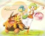 1girl bel_(pokemon) blonde_hair breasts character_request commentary_request green_hat hat medium_hair nara_umi pokemon pokemon_(creature) pokemon_(game) pokemon_bw
