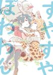2girls animal_ears backpack backpack_removed bag bare_shoulders black_hair blonde_hair boots bow bowtie bucket_hat commentary_request elbow_gloves eyebrows_visible_through_hair feathers gloves hand_holding hat hat_removed headwear_removed highres kaban_(kemono_friends) kemono_friends loafers mitsumoto_jouji multicolored_hair multiple_girls pantyhose paw_print serval_(kemono_friends) serval_ears serval_print serval_tail shirt shoes short_hair shorts skirt sleeping t-shirt tail thigh-highs translation_request vest