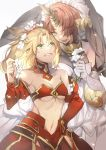 2girls bare_shoulders blonde_hair breasts brown_hair cleavage detached_collar detached_sleeves fate/apocrypha fate/grand_order fate_(series) flower frankenstein's_monster_(fate) green_eyes hair_flower hair_ornament hair_over_one_eye hand_on_hip highres horn medium_hair mordred_(fate) mordred_(fate)_(all) multiple_girls navel no-kan revealing_clothes short_hair small_breasts strapless sweatdrop tubetop under_boob veil yellow_eyes