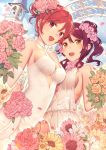 2girls :d alternate_hairstyle arch bell_tower bouquet breasts choker commentary_request dress elbow_gloves eyebrows_visible_through_hair flower gloves hair_bun hair_flower hair_ornament halter_dress holding holding_bouquet love_live! love_live!_school_idol_project love_live!_sunshine!! medium_breasts multiple_girls nagareboshi nishikino_maki open_mouth orange_flower orange_rose outdoors petals pink_flower pink_rose redhead rose sakurauchi_riko see-through side_ponytail sideboob smile sparkle violet_eyes wedding wedding_dress white_choker white_dress white_flower white_gloves wife_and_wife yellow_eyes yellow_flower yuri