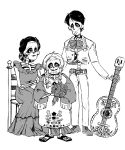 1boy 2girls acoustic_guitar black_hair braid coco_(disney) couple disney dress earrings facial_hair father_and_daughter flower goatee guitar hector_rivera highres imelda_rivera instrument jewelry long_hair mama_coco mexican_dress mother_and_daughter multiple_girls short_hair sitting skeleton skull smile spoilers sweater