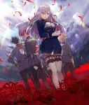 3boys 3girls 86_-eightysix- angel_emma black_hair blonde_hair blue_eyes commentary_request dress garter_straps gloves hair_between_eyes highres krena_kukumira long_hair long_sleeves military military_uniform multiple_boys multiple_girls orange_hair raiden_suga seoto_rikka shinei_nouzen shirabi silver_hair thigh-highs uniform vladilena_millize white_gloves white_legwear