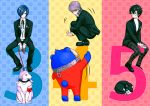 3 3boys 3others 4 5 amamiya_ren animal animal_costume atlus bear black-framed_eyewear black_blazer black_footwear black_hair black_legwear black_pants black_ribbon blue_hair cat cellphone dog full_body glasses hair_over_one_eye hitoki_(kokusei1977) holding holding_phone human jacket koromaru kuma_(persona_4) looking_back looking_down looking_up megami_tensei morgana_(persona_5) narukami_yuu neck_ribbon number one_eye_closed open_clothes open_jacket pants persona persona_3 persona_4 phone ribbon school_uniform shin_megami_tensei shirt silver_hair sitting smartphone socks squatting uniform white_shirt yuuki_makoto
