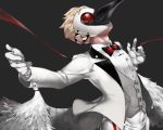 1boy beak blonde_hair caligula_(game) fake_wings formal grey_background haruno14 looking_up outstretched_arms plague_doctor_mask solo spread_arms stork_(caligula) suit vest wings