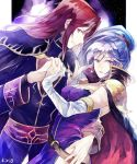 1boy 1girl alvis_(fire_emblem) breasts cape cleavage dress earrings elbow_gloves fire_emblem fire_emblem:_seisen_no_keifu fire_emblem_heroes gloves ishtar_(fire_emblem) jewelry long_hair looking_at_viewer ponytail red_eyes redhead side_ponytail silver_hair smile violet_eyes