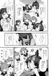 5girls ahoge anchor_symbol bacius black_hair black_sailor_collar clenched_hands closed_eyes comic crying crying_with_eyes_open detached_sleeves folded_ponytail fusou_(kantai_collection) greyscale hair_ornament hair_ribbon hairclip hand_on_own_cheek headgear highres ikazuchi_(kantai_collection) inazuma_(kantai_collection) japanese_clothes kantai_collection kappougi long_hair long_sleeves mamiya_(kantai_collection) monochrome multiple_girls neckerchief nontraditional_miko open_mouth ribbon sailor_collar school_uniform serafuku shirt short_hair smile tears trembling waving white_shirt wide_sleeves yamashiro_(kantai_collection)