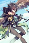 1boy armor brown_hair fingerless_gloves gloves granblue_fantasy hood hood_down makita_(homosapiensu) male_focus pantyhose red_eyes sandalphon_(granblue_fantasy) short_hair smile solo sword weapon wings