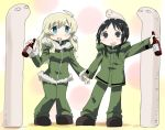 2girls ahoge alcohol black_eyes black_hair blonde_hair blue_eyes blush celebration chito_(shoujo_shuumatsu_ryokou) drinking gobera hand_holding long_hair looking_at_viewer military military_uniform multiple_girls nuko_(shoujo_shuumatsu_ryokou) open_mouth shoujo_shuumatsu_ryokou smile statue twintails uniform yuuri_(shoujo_shuumatsu_ryokou)