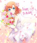 1girl 2018 bangs bele_brave blue_eyes bouquet bow cowboy_shot dated dress flower frilled_dress frills hair_bow hair_flower hair_ornament happy_birthday holding holding_bouquet kousaka_honoka looking_at_viewer love_live! love_live!_school_idol_project orange_hair petals smile solo wedding_dress white_dress