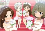 4girls absurdres agemono anastasia_(idolmaster) animedia aqua_eyes bangs bare_shoulders blue_eyes blue_flower blunt_bangs blush body_blush bouquet breasts bridal_veil brown_eyes brown_hair cinderella_girls_gekijou cleavage crop_top earrings elbow_gloves eyebrows_visible_through_hair flower gloves green_eyes hair_flower hair_ornament hair_over_shoulder heterochromia high_heels highres holding holding_bouquet idolmaster idolmaster_cinderella_girls jewelry kawashima_mizuki knees_together large_breasts lavender_flower legs_together light_brown_hair lipstick long_hair looking_at_viewer magazine_scan makeup medium_breasts midriff mole mole_under_eye multiple_girls navel necklace nitta_minami official_art open_mouth orange_eyes outstretched_hand parted_bangs parted_lips pearl_earrings pearl_necklace pink_flower pink_gloves pink_lipstick pink_shirt pink_skirt scan shirt short_hair silver_hair sitting skirt smile stairs takagaki_kaede takatsu_tomoko veil white_earrings white_flower white_footwear white_gloves white_shirt white_skirt yellow_flower