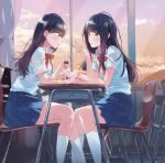 2girls bangs black_hair blush chair commentary_request desk evening fly_(marguerite) long_hair looking_at_another multiple_girls nail_polish nail_polish_bottle original painting_nails pleated_skirt school_desk school_uniform shirt short_sleeves sitting skirt white_shirt yellow_nails yuri