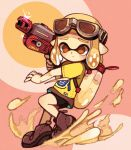 1girl :/ bangs bare_arms black_shorts blonde_hair blunt_bangs brown_eyes closed_mouth domino_mask furrowed_eyebrows goggles goggles_on_head grey_footwear grey_skirt holding inkling mask mayonnaise miniskirt pain pointy_ears shirt shoes short_hair short_sleeves shorts shorts_under_skirt skirt sneakers solo sparkle splatoon splatoon_2 t-shirt tentacle_hair yellow_shirt yukino_super