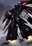 black_selena clouds cloudy_sky commentary_request from_below glowing glowing_eyes highres kidou_senkan_nadesico kidou_senkan_nadesico_-_prince_of_darkness mecha no_humans red_eyes sky solo tyuuboutyauyo weapon