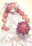 1boy artist_name astolfo_(fate) blush bouquet bow bridal_veil bride collarbone dress eudetenis eyebrows_visible_through_hair fate/apocrypha fate_(series) floral_print flower hair_bow hair_intakes highres jewelry long_hair low_twintails male_focus multicolored_hair necklace open_mouth otoko_no_ko pantyhose pink_flower pink_hair pink_rose purple_flower purple_rose red_flower red_rose rose shrug_(clothing) smile solo streaked_hair twintails veil very_long_hair violet_eyes wedding_dress white_bow white_dress