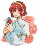 1girl blush dress fire_emblem fire_emblem:_monshou_no_nazo flower hairband headband maria_(fire_emblem) red_eyes redhead short_hair smile solo tnmrdgr