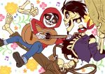 2boys bandanna black_hair brown_eyes coco_(disney) dark_skin detached_arm disney facial_hair goatee grandfather_and_grandson guitar hat hector_rivera hood instrument miguel_rivera multiple_boys short_hair skeleton skull smile straw_hat