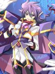 1boy black_footwear blue_background boots bow cape gloves holding holding_plate holding_teacup long_sleeves looking_at_viewer open_mouth pants plate purple_cape purple_coat purple_hair red_bow rento_(rukeai) saikyou_ginga_ultimate_zero_~battle_spirits~ smile solo spiky_hair violet_eyes white_gloves white_pants zero_the_flash