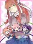 4girls blue_eyes blue_skirt brown_hair chibi commentary copyright_name doki_doki_literature_club green_eyes hair_ribbon head_tilt long_hair looking_at_viewer monika_(doki_doki_literature_club) multiple_girls natsuki_(doki_doki_literature_club) pink_eyes pink_hair pleated_skirt purple_hair ribbon sayori_(doki_doki_literature_club) school_uniform skirt smile violet_eyes white_ribbon yuri_(doki_doki_literature_club) zatta27