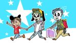 3boys alternate_costume black_hair brown_eyes chibi coco_(disney) dark_skin disney disneyland ernesto_de_la_cruz facial_hair goatee hand_holding hat hector_rivera miguel_rivera multiple_boys mustache short_hair skeleton skull smile