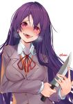 1girl :d blush breath commentary doki_doki_literature_club english_commentary eyebrows_visible_through_hair eyes_visible_through_hair fangs hair_between_eyes hair_ornament hairclip heart heart-shaped_pupils heavy_breathing highres holding holding_knife knife long_hair looking_at_viewer nose_blush open_mouth purple_hair saliva school_uniform simple_background smile solo sweat sweating_profusely symbol-shaped_pupils teeth tongue tongue_out twitter_username upper_body violet_eyes white_background xhunzei yandere yuri_(doki_doki_literature_club)