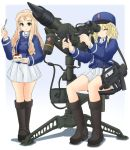 2girls bangs bc_freedom_(emblem) bc_freedom_military_uniform black_footwear blonde_hair blue_background blue_hat blue_jacket blue_vest boots cake closed_eyes closed_mouth commentary_request dress_shirt drill_hair emblem eyebrows_visible_through_hair food fork full_body girls_und_panzer gradient gradient_background green_eyes gun hat high_collar holding ichigotofu jacket knee_boots light_frown long_hair long_sleeves looking_at_viewer marie_(girls_und_panzer) medium_hair messy_hair military military_hat military_uniform miniskirt multiple_girls oshida_(girls_und_panzer) parted_lips pleated_skirt saucer shadow shako_cap shirt sitting skirt standing submachine_gun sweatdrop uniform vest weapon weapon_request white_shirt white_skirt