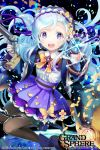 1girl :d blue_eyes brown_legwear bug butterfly copyright_name dual_wielding gun hairband holding holding_gun holding_weapon insect kuroi light_blue_hair lolita_fashion long_hair long_sleeves official_art open_mouth original pantyhose purple_skirt skirt smile sparkle watermark weapon