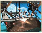 5girls :d ^_^ ^o^ aircraft airplane biplane black_gloves black_legwear black_sailor_collar blue_eyes blue_sky brown_hair closed_eyes clouds commentary_request day elbow_gloves flying_boat folded_ponytail fubuki_(kantai_collection) gloves green_eyes gun hair_bobbles hair_ornament hiro_h2h inazuma_(kantai_collection) kantai_collection kitsuneno_denpachi lantern long_hair looking_at_viewer machine_gun multiple_girls murakumo_(kantai_collection) ocean open_mouth orange_eyes outdoors pink_eyes pink_hair remodel_(kantai_collection) sailor_collar samidare_(kantai_collection) sazanami_(kantai_collection) school_uniform serafuku short_hair short_sleeves silver_hair sitting skirt sky smile thigh-highs translation_request twintails weapon white_skirt