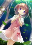 1girl bangs blurry blurry_background blush brown_hair capelet chinomaron commentary_request day depth_of_field dress dutch_angle eyebrows_visible_through_hair flower_knight_girl forest hair_between_eyes hands_up highres leaf long_hair nature outdoors own_hands_together parted_lips pink_dress red_neckwear signature solo tree tsutsuji_(flower_knight_girl) two_side_up violet_eyes white_capelet