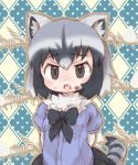 1girl animal_ears argyle argyle_background arms_behind_back bangs black_bow black_hair black_neckwear black_skirt bow bowtie breasts brown_eyes chocolate common_raccoon_(kemono_friends) eyebrows eyebrows_visible_through_hair fang food food_on_face fur_collar furrowed_eyebrows grey_hair hair_between_eyes kemono_friends kolshica looking_at_viewer miniskirt multicolored_hair open_mouth pleated_skirt polka_dot polka_dot_background purple_shirt raccoon_ears raccoon_tail shirt short_hair skirt small_breasts solo striped_tail tail white_hair