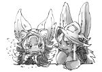 2others animal_ears blush blush_stickers fang greyscale hat helmet hikky made_in_abyss mokuri monochrome nanachi_(made_in_abyss) open_mouth rabbit_ears simple_background sweatdrop wavy_mouth whiskers white_background yuka_rit