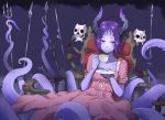 1girl artist_name bangs cup dress eudetenis facial_mark highres holding holding_cup horns looking_at_viewer monster_girl original parted_bangs parted_lips pink_dress pointy_ears polearm purple_hair purple_skin red_eyes saucer scylla short_hair short_sleeves sitting skull solo spear tea teacup tentacle thrown trident weapon