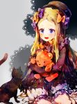 1girl :d abigail_williams_(fate/grand_order) animal bangs black_bow black_cat black_dress black_hat blonde_hair bloomers blue_eyes blush bow bug butterfly cat commentary_request doily dress fate/grand_order fate_(series) forehead grey_background hair_bow hat highres insect kotohogi_funyanya~ long_hair long_sleeves looking_away object_hug open_mouth orange_bow parted_bangs polka_dot polka_dot_bow purple_bow round_teeth sitting sleeves_past_fingers sleeves_past_wrists smile solo stuffed_animal stuffed_toy teddy_bear teeth underwear upper_teeth very_long_hair white_bloomers