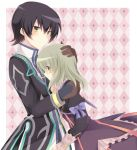 1boy 1girl black_hair black_jacket blush bow brown_eyes brown_gloves dress elize_lutus gloves green_eyes grey_hair hand_on_another's_head hug jacket jewelry jude_mathis long_sleeves necklace pink_background puffy_sleeves purple_bow purple_dress rento_(rukeai) smile tales_of_(series) tales_of_xillia tales_of_xillia_2