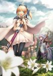 1girl 2boys ahoge armor artoria_pendragon_(all) black_legwear blonde_hair breasts caliburn cape character_request clouds cloudy_sky dress eyebrows_visible_through_hair fate/grand_order fate/stay_night fate_(series) flower gloves green_eyes grey_hair hair_ornament hair_ribbon highres holding holding_sword holding_weapon knight lily_(flower) merlin_(fate/stay_night) migiha multiple_boys pink_eyes ribbon saber_lily sky small_breasts smile sword weapon white_dress white_flower white_gloves white_hair