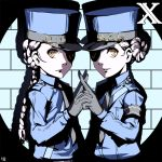 2girls armband blue_hat blue_jacket braid caroline_(persona_5) eyepatch gloves grey_gloves grey_neckwear hand_holding hat index_finger_raised interlocked_fingers jacket justine_(persona_5) long_hair multiple_girls nanaya_(daaijianglin) necktie persona persona_5 ponytail short_hair silver_hair single_braid standing tied_hair uniform upper_body yellow_eyes