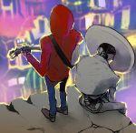 2boys acoustic_guitar black_hair charro coco_(disney) dark_skin disney ernesto_de_la_cruz guitar hat highres hood instrument jacket miguel_rivera multiple_boys music playing_instrument short_hair sitting sombrero