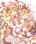 1girl amitie_(puyopuyo) blonde_hair bow brown_dress candy candy_cane cream cream_on_face dress food food_on_face food_themed_hair_ornament fork frilled_dress frills fruit green_eyes hair_ornament hat heart heart-shaped_pupils heart_background holding holding_fork holding_plate horizontal-striped_legwear looking_at_viewer open_mouth pancake pink_bow plate puffy_short_sleeves puffy_sleeves puyopuyo rento_(rukeai) short_hair short_sleeves sitting smile solo star strawberry strawberry_hair_ornament sweet_amitie symbol-shaped_pupils thigh-highs white_background
