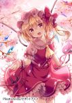 1girl :d ascot bangs blonde_hair bow crystal eyebrows_visible_through_hair flandre_scarlet flower frilled_skirt frills hair_between_eyes hat hat_bow head_tilt kure~pu looking_at_viewer mob_cap one_side_up open_mouth petals pink_flower pink_hat puffy_short_sleeves puffy_sleeves red_bow red_eyes red_skirt red_vest shirt short_sleeves skirt skirt_set smile solo touhou vest white_shirt wings wrist_cuffs yellow_neckwear